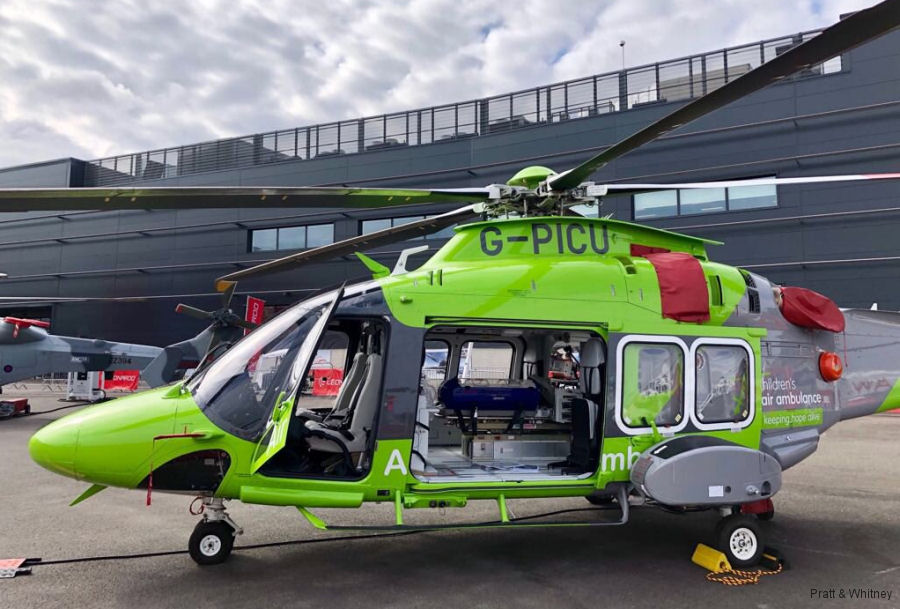 Helicopter AgustaWestland AW169 Serial 69055 Register G-PICU I-EASI used by UK Air Ambulances TCAA (The Children's Air Ambulance) ,Specialist Aviation Services SAS ,AgustaWestland Italy. Built 2017. Aircraft history and location