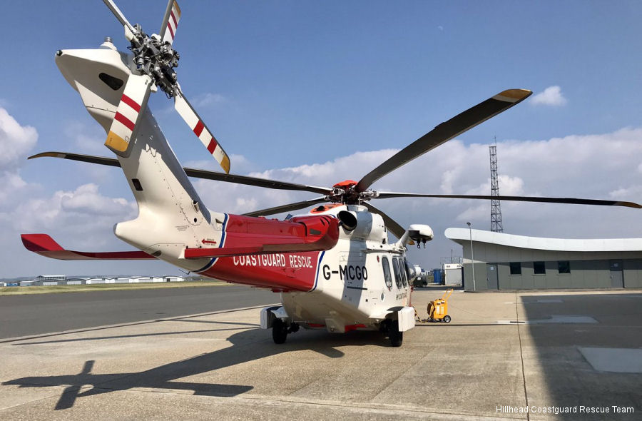 Helicopter AgustaWestland AW189 Serial 92002 Register G-MCGO used by HM Coastguard (Her Majesty's Coastguard) Bristow AgustaWestland UK. Built 2014. Aircraft history and location