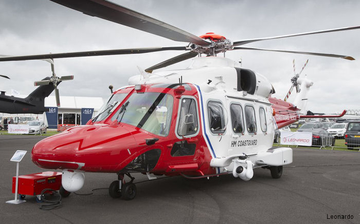 Helicopter AgustaWestland AW189 Serial 92004 Register G-MCGR used by Bristow HM Coastguard (Her Majesty's Coastguard) AgustaWestland UK. Built 2014. Aircraft history