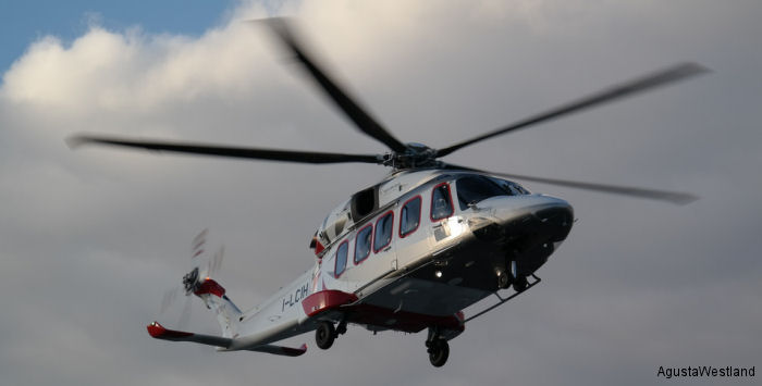 Helicopter AgustaWestland AW189 Serial 49011 Register I-LCIH used by AgustaWestland Italy. Aircraft history and location