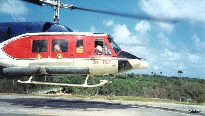 Helicopter Bell 212 Serial 30640 Register VH-UEC C-GAZF HK-4518X 9Y-TEY VR-BFE N18091 used by EPS helicopter services ,Eagle Copters ,Bristow Caribbean ,Bristow Bermuda. Built 1974. Aircraft history and location
