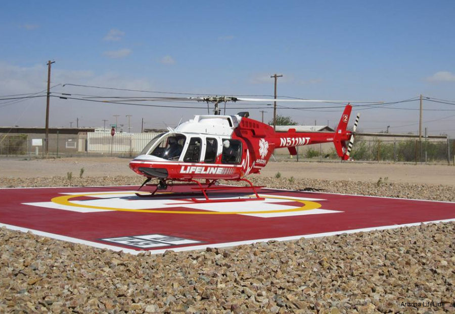 Helicopter Bell 407 Serial 53563 Register N511MT used by State of Arizona Med Trans Corp. Built 2003. Aircraft history and location