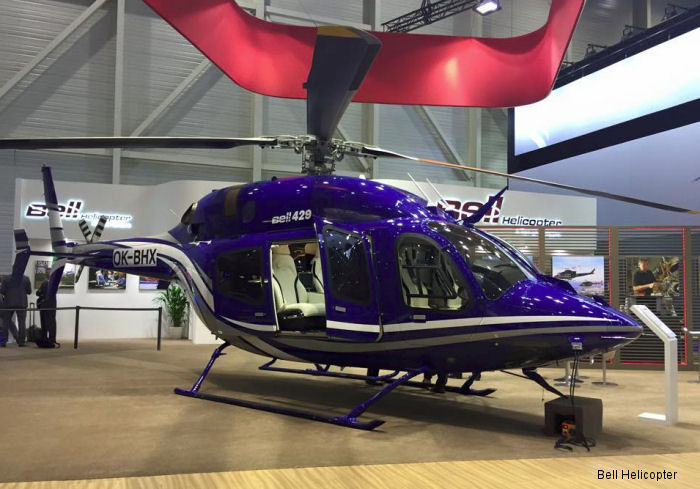 Helicopter Bell 429 Serial 57224 Register C-FNFO OK-BHX C-FCVK used by Bell Helicopter Canada ,Bell Helicopter Europe. Built 2014. Aircraft history and location