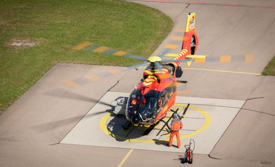Helicopter Airbus Helicopters H145 / BK117D3 Serial 21001 Register LN-OOA D-HADV used by Norsk Luftambulanse NLA AS (Norwegian Air Ambulance Foundation) ,Airbus Helicopters Deutschland GmbH (Airbus Helicopters Germany). Built 2020. Aircraft history and location