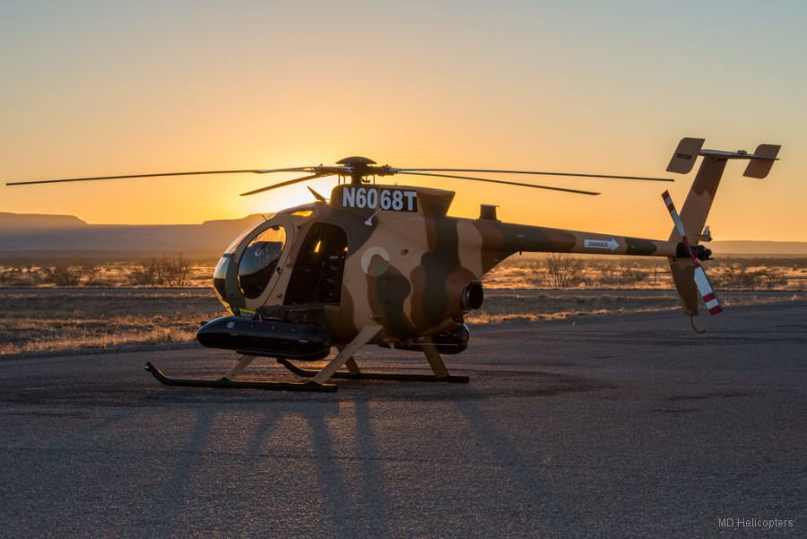 Helicopter MD Helicopters MD530F Serial 0215FF Register 215 N6068T used by Afghan Air Force ,MD Helicopters MDHI. Built 2014. Aircraft history and location