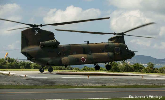 Helicopter Kawasaki Heavy Industries CH-47JA Serial 5057 Register 52957 used by Japan Ground Self-Defense Force JGSDF (Japanese Army). Aircraft history and location