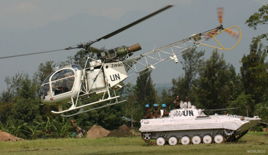 Helicopter HAL chetak Serial unknown Register Z1890 used by United Nations UN ,Bharatiya Vayu Sena (Indian Air Force). Aircraft history and location
