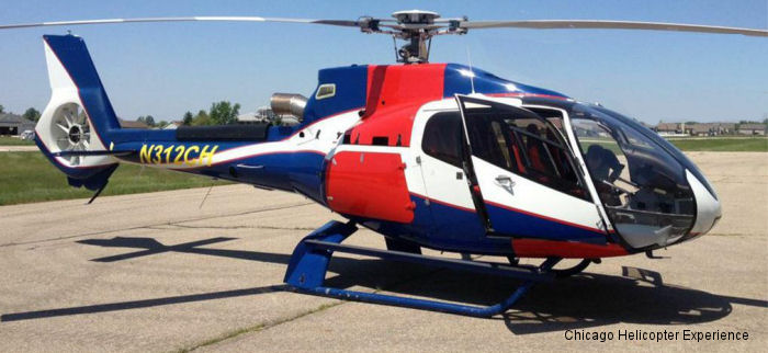 Helicopter Eurocopter EC130B4 Serial 4968 Register C-FXSH N312CH used by Eurocopter Canada Chicago Helicopter Experience. Built 2010. Aircraft history