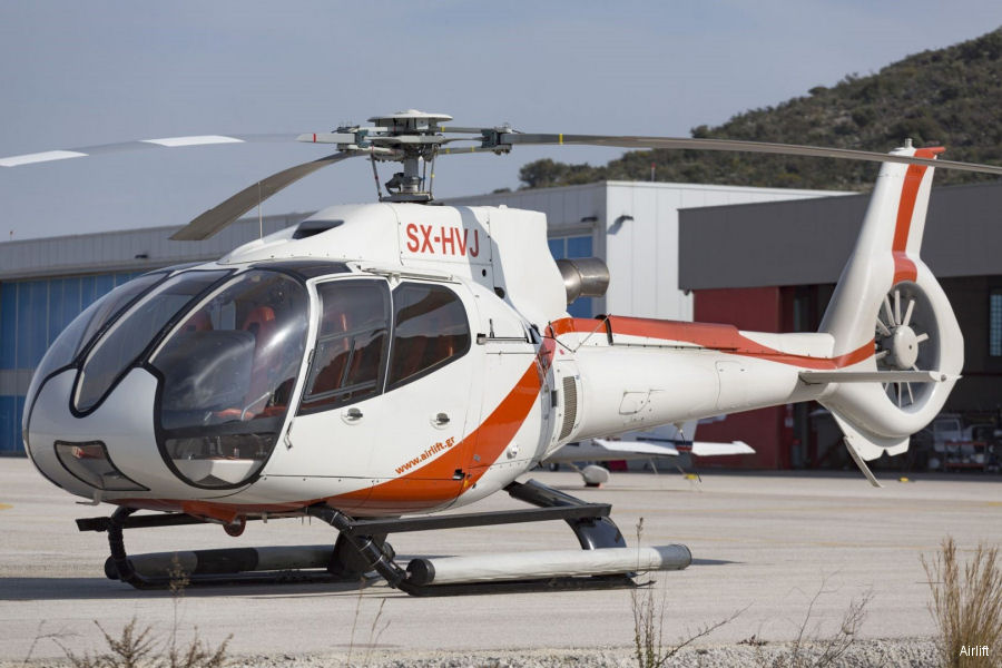 Helicopter Eurocopter EC130B4 Serial 4861 Register SX-HVJ used by Airlift SA. Aircraft history and location