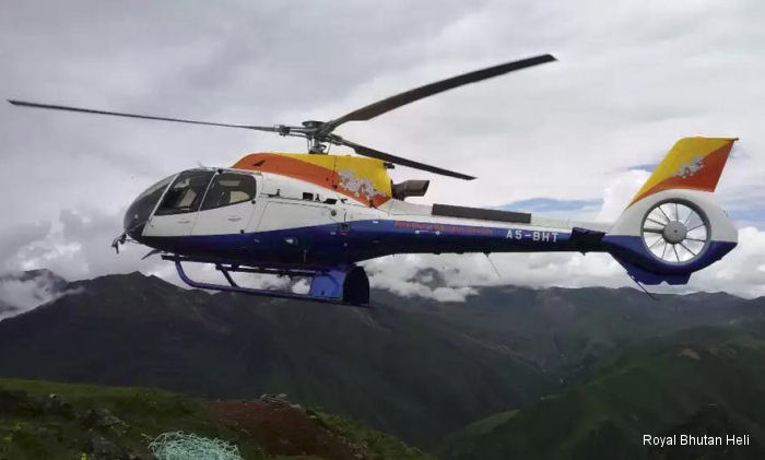 Helicopter Airbus Helicopters H130 / EC130T2 Serial 8160 Register A5-BHT F-WTCU used by Royal Bhutan Helicopter Services Ltd Airbus Helicopters Southeast Asia. Aircraft history