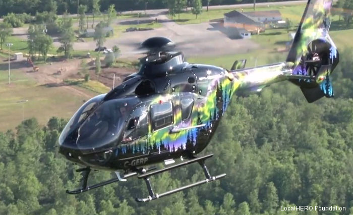 Helicopter Eurocopter EC135T2+ Serial 1136 Register C-GERP used by Phoenix Heli-Flight ,Airbus Helicopters Canada ,Eurocopter Canada. Built 2013. Aircraft history and location