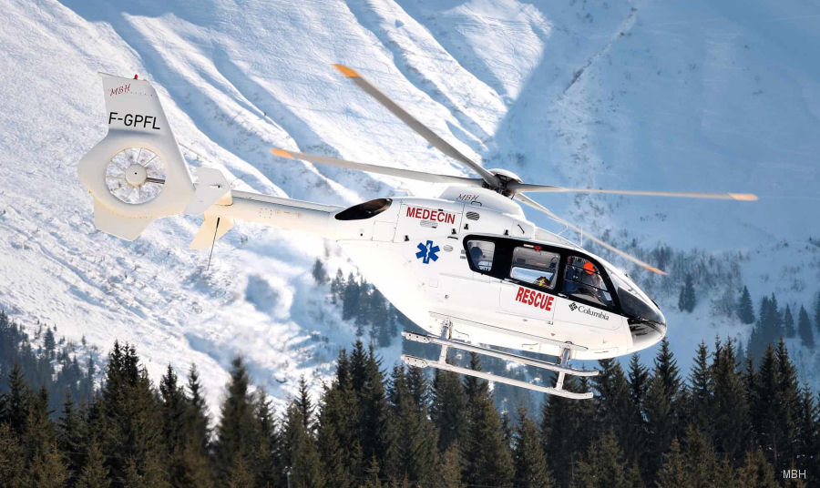 Helicopter Eurocopter EC135T1 Serial 0227 Register F-GPFL used by Service d'Aide Medicale d'Urgence SAMU (emergency medical assistance service) ,Mont Blanc Helicopteres MBH. Built 2002. Aircraft history and location