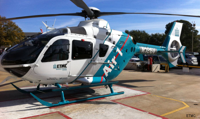 Helicopter Eurocopter EC135P2+ Serial 0562 Register N913ET N196V used by State of Texas Tennessee Gas Pipeline Company. Built 2007. Aircraft history and location