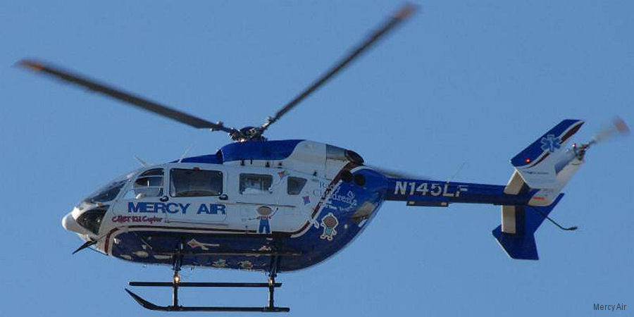 Helicopter Eurocopter EC145 Serial 9072 Register N145LF used by Mercy Air. Built 2005. Aircraft history and location