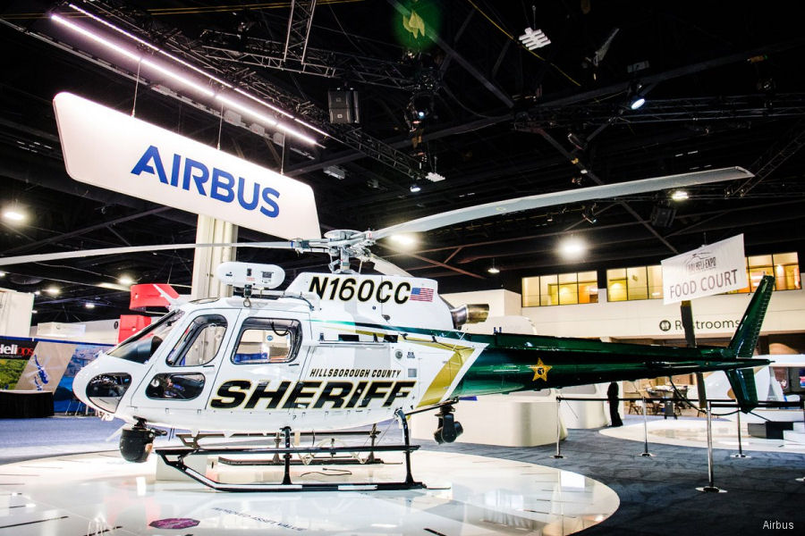 Helicopter Airbus Helicopters H125 / AS350B3e Ecureuil Serial 8505 Register N160CC N476AH used by HCSO (Hillsborough County Sheriff Office) ,Airbus Helicopters Inc (Airbus Helicopters USA). Built 2018. Aircraft history and location