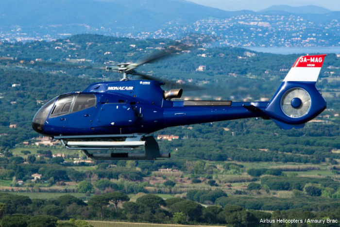 Helicopter Airbus Helicopters H130 / EC130T2 Serial 8177 Register F-HMMC 3A-MAG F-HJAG used by Skycam Hélicoptères Monacair. Built 2015. Aircraft history and location