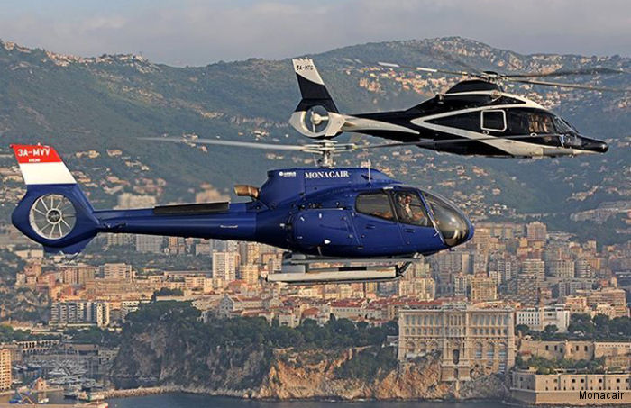 Helicopter Airbus Helicopters H130 / EC130T2 Serial 8222 Register 3A-MVV used by Monacair. Aircraft history