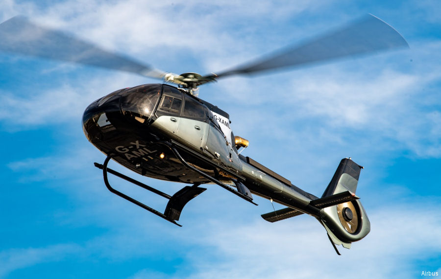Helicopter Airbus Helicopters H130 / EC130T2 Serial 8742 Register N130GB G-XAML G-DBAM used by Bank Of Utah ,Helicopter Services Ltd ,Airbus Helicopters UK. Built 2019. Aircraft history and location