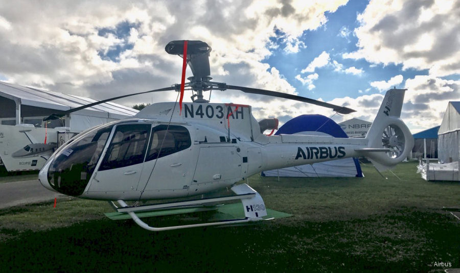 Helicopter Airbus Helicopters H130 / EC130T2 Serial 8300 Register N41SH N403AH used by Indiana Helicopters ,Airbus Helicopters Inc (Airbus Helicopters USA). Aircraft history and location