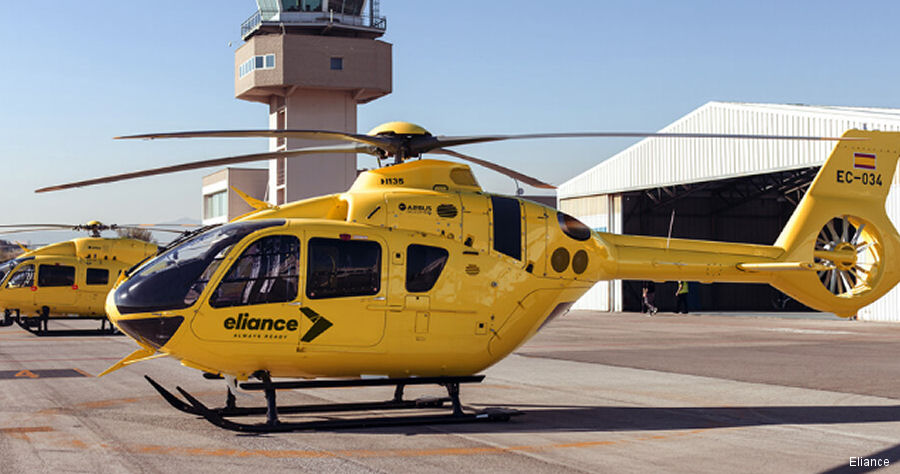 Helicopter Airbus Helicopters H135 / EC135T3 Serial 1244 Register EC-034 used by TAF Helicopters ,Airbus Helicopters España (Airbus Helicopters Spain). Aircraft history and location