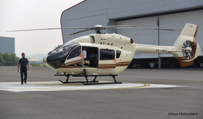Helicopter Airbus Helicopters H145 / EC145T2 Serial 20058 Register 9V-HBV used by Airbus Helicopters Southeast Asia. Aircraft history