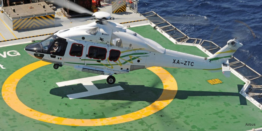 Helicopter Airbus Helicopters H175 / EC175 Serial 5009 Register PH-OSF XA-ZTC used by Heli Holland Transportes Aereos Pegaso. Built 2016. Aircraft history