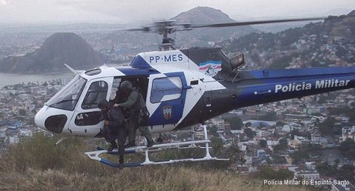 Helicopter Eurocopter HB350B2 Esquilo Serial 4501 Register PP-MES used by Policia Militar do Brasil (Brazilian Military Police) Helibras. Built 2008. Aircraft history