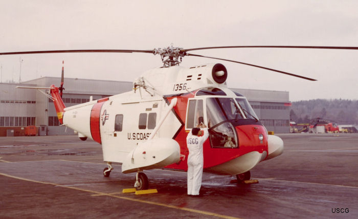 Helicopter Sikorsky HH-52A Sea Guard Serial 62-025 Register 1356 used by US Coast Guard USCG. Built 1963. Aircraft history and location