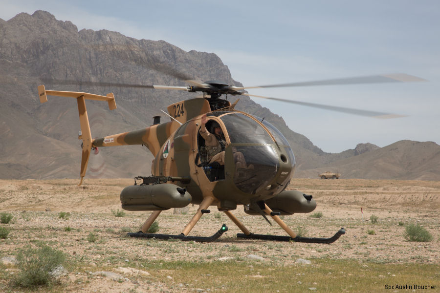 Helicopter MD Helicopters MD530F Serial 0224FF Register 224 used by Afghan Air Force. Aircraft history and location