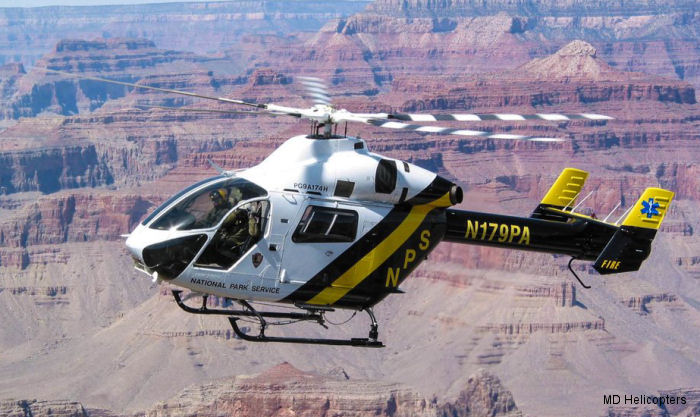 Helicopter McDonnell Douglas MD900 Explorer Serial 900/00021 Register N179PA N811CM N9021T used by Papillon Grand Canyon NPS (National Park Service). Built 1995. Aircraft history