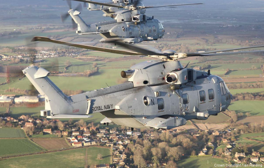 Helicopter AgustaWestland Merlin HC.3 Serial 50167 Register ZJ129 used by Fleet Air Arm RN (Royal Navy) ,AgustaWestland UK ,Royal Air Force RAF. Built 2001. Aircraft history and location
