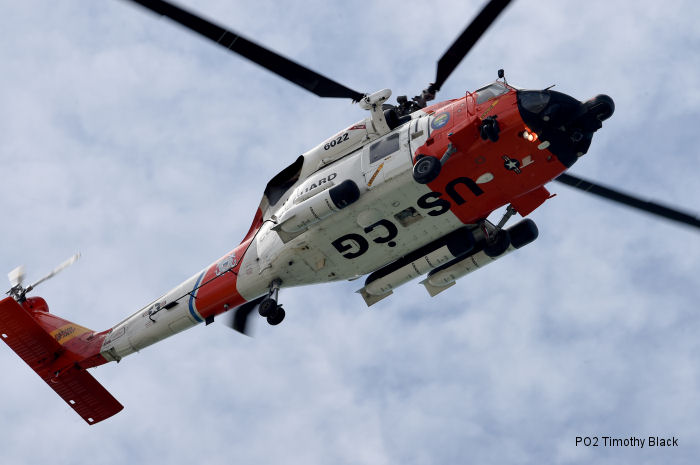 Helicopter Sikorsky HH-60J Jayhawk Serial 70-1704 Register 6022 used by US Coast Guard. Aircraft history and location