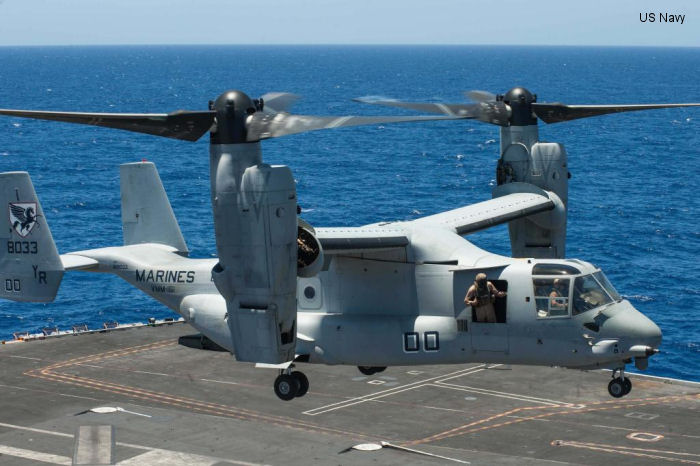 Helicopter Bell MV-22B Osprey Serial D0163 Register 168033 used by US Marine Corps USMC. Aircraft history and location