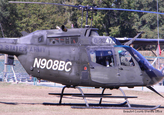 Helicopter Bell OH-58A Kiowa Serial 41331 Register N908BC 71-20470 used by State of South Carolina US Army Aviation. Aircraft history and location