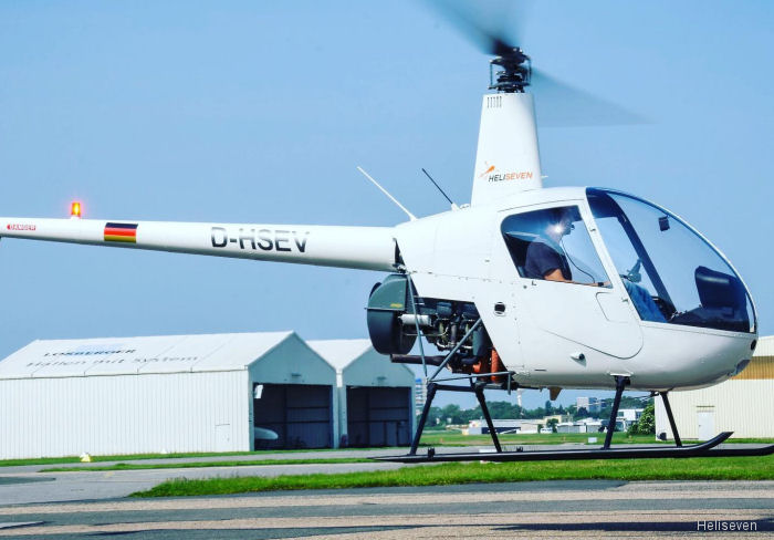 Helicopter Robinson R22 Beta Serial 1355 Register D-HSEV D-HILE used by Heliseven GmbH. Aircraft history and location
