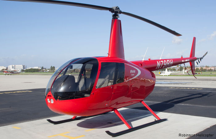 Helicopter Robinson R44 Cadet Serial 30011 Register N79RH used by UND (University of North Dakota). Built 2017. Aircraft history and location