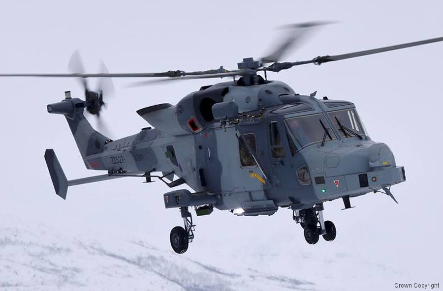 Helicopter AgustaWestland AW159 Wildcat AH1 Serial 534 Register ZZ527 used by Royal Marines. Aircraft history and location