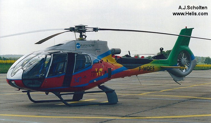 Helicopter Eurocopter EC130B4 Serial 3257 Register F-WQES used by Eurocopter France. Built 2000. Aircraft history and location