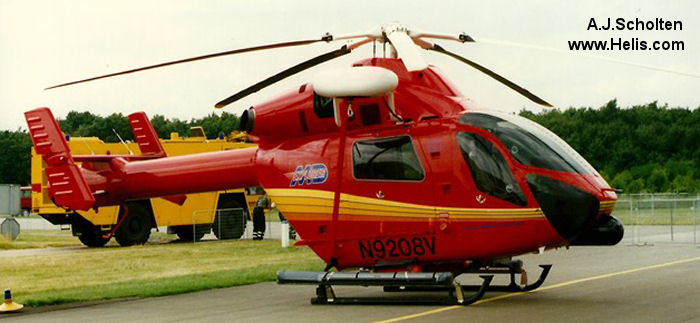 Helicopter McDonnell Douglas MD900 Explorer Serial 900/00010 Register 9010 N555WA N9208V XA-FAA used by US Coast Guard Eastern Atlantic Helicopters marinen (swedish navy). Built 1995. Aircraft history