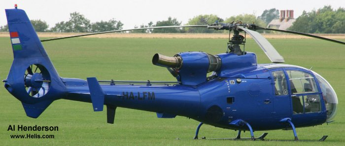 Helicopter Aerospatiale SA341G Gazelle Serial 1301 Register HA-LFM G-HTPS. Aircraft history and location