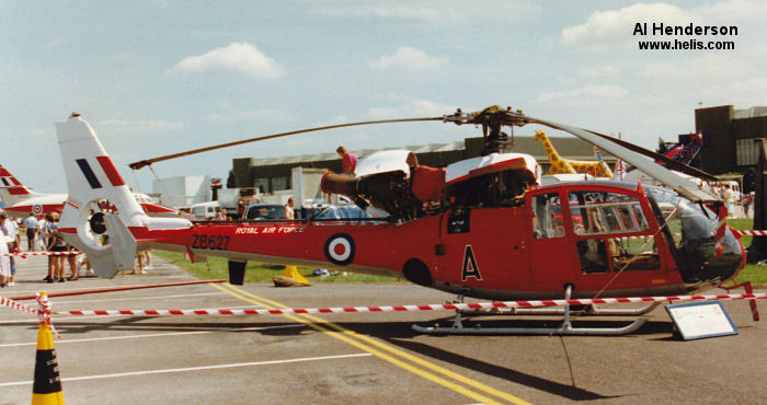 Helicopter Aerospatiale SA341D Gazelle HT.3 Serial 1914 Register G-CBSK ZB627 used by London Helicopter Centres ,Royal Air Force RAF. Built 1982. Aircraft history and location