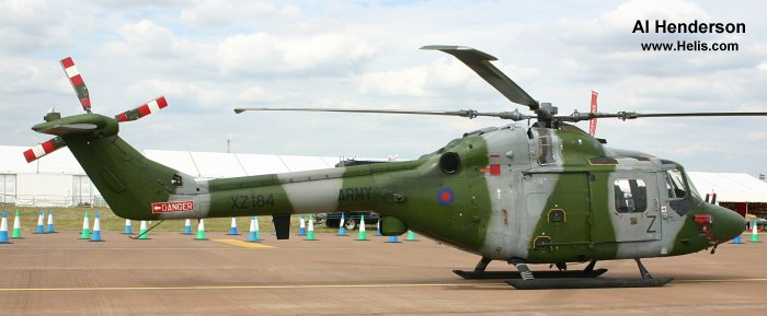 Helicopter Westland Lynx AH1 Serial 065 Register XZ184 used by Army Air Corps (British Army). Built 1978. Aircraft history and location