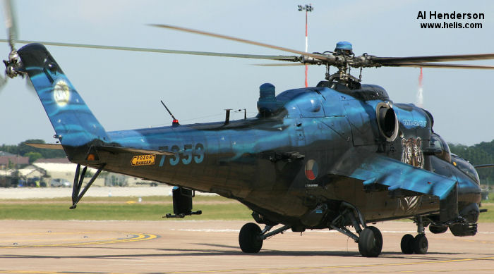 Helicopter Mil Mi-24V Hind Serial 087353 Register 7353 used by Vzdušné síly AČR (Czech Air Force). Aircraft history