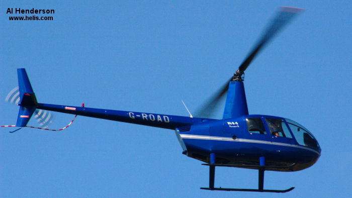 Helicopter Robinson R44 Raven II Serial 11589 Register G-ROAD. Built 2007. Aircraft history and location
