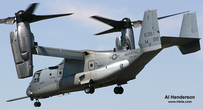 Helicopter Bell MV-22B Osprey Serial D0058 Register 166391 used by US Marine Corps. Aircraft history