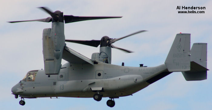 Helicopter Bell MV-22B Osprey Serial D0175 Register 168225 used by US Marine Corps USMC. Aircraft history and location
