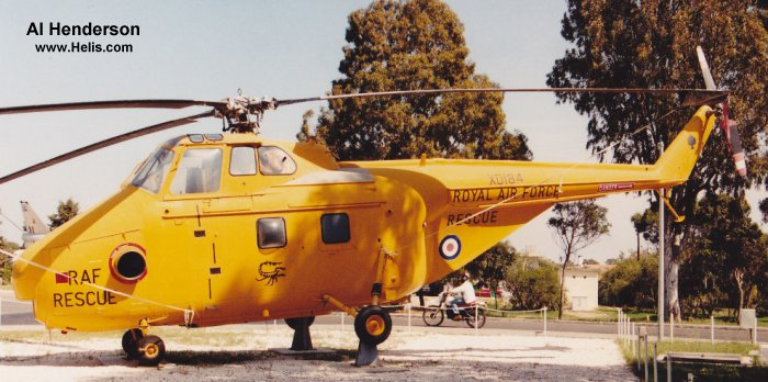 Helicopter Westland Whirlwind HAR.4 Serial wa 27 Register 8787M XD184 used by Royal Air Force RAF. Built 1954. Aircraft history and location