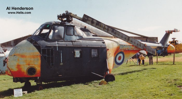 Helicopter Westland Whirlwind HAS.7 Serial wa 91 Register XG596 used by Fleet Air Arm RN (Royal Navy). Built 1957. Aircraft history and location