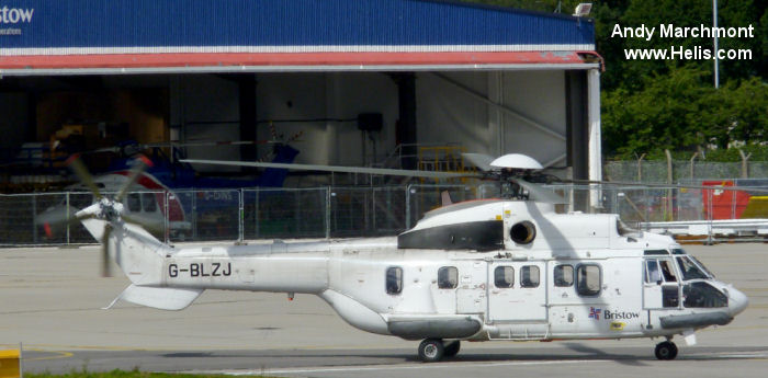 Helicopter Aerospatiale AS332L Super Puma Serial 2123 Register G-BLZJ G-PUMJ LN-OMI used by British International Helicopters Bristow British Airways Helicopters Airbus Helicopters UK Bond Aviation Group Norsk Helikopter Bristow Norway AS Helikopter Service. Built 1984. Aircraft history