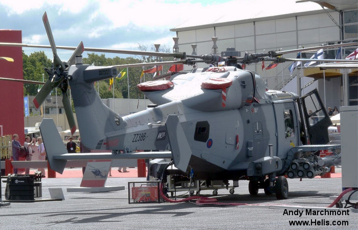 Helicopter AgustaWestland AW159 Wildcat AH1 Serial 505 Register ZZ386 used by Royal Marines Army Air Corps (British Army). Aircraft history and location
